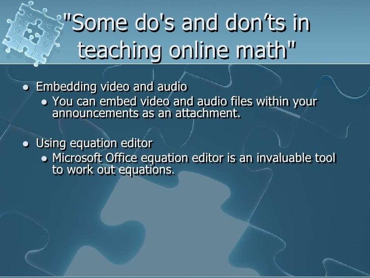 Math dos and donts