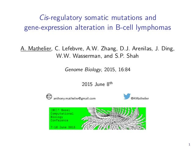 Cis-regulatory somatic mutations and gene-expression alteration in B-cell lymphomas A. Mathelier, C. Lefebvre, A.W. Zhang,...
