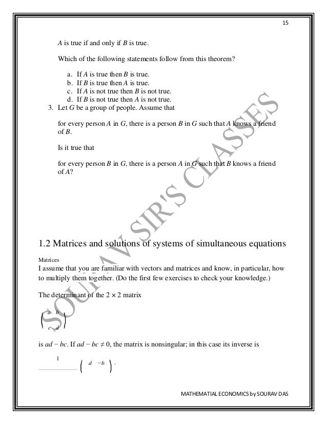 TEXTBOOK ON MATHEMATICAL ECONOMICS FOR CU , BU CALCUTTA , SOLVED EXER…