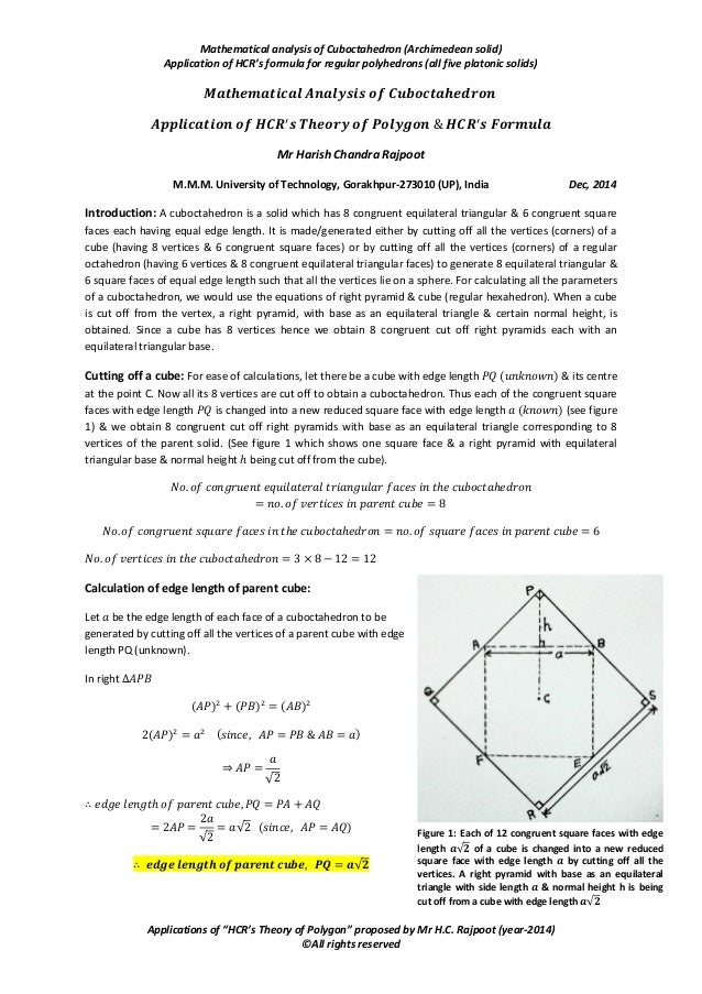 Mathematical analysis of Cuboctahedron (Archimedean solid) Application of HCR's formula for regular polyhedrons (all five ...