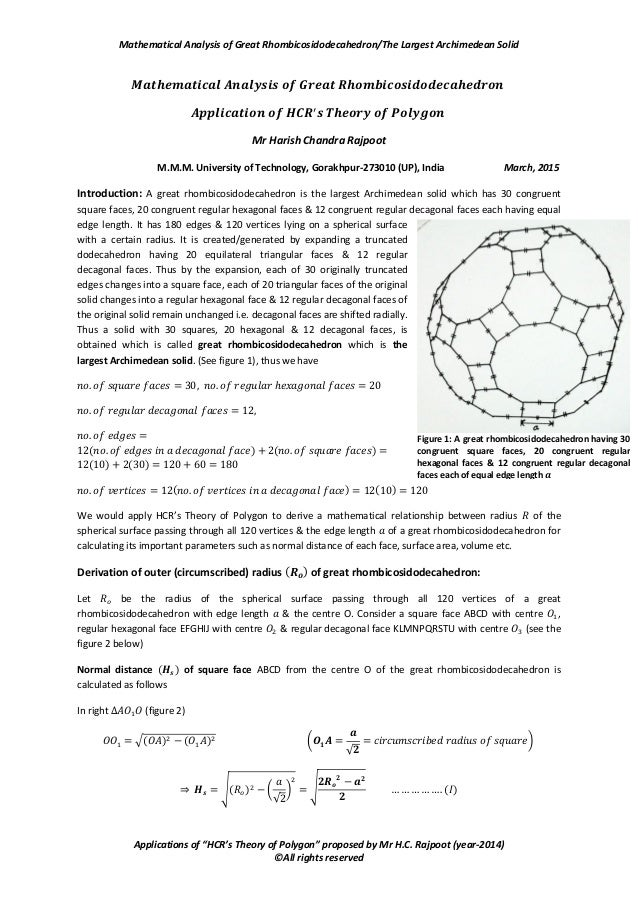 """Mathematical Analysis of Great Rhombicosidodecahedron/The Largest Archimedean Solid Applications of """"HCR's Theory of Polyg..."""