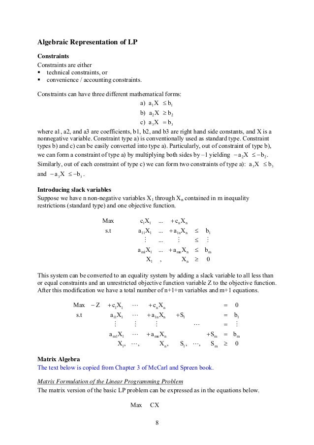 Mathematical Linear Programming Notes