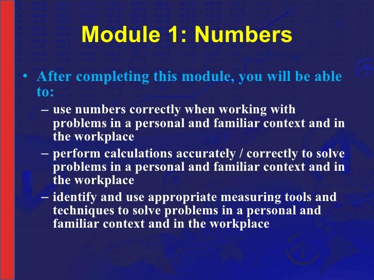 NCV 4 Mathematical Literacy Hands-On Support Slide Show - Module 1 Pa…