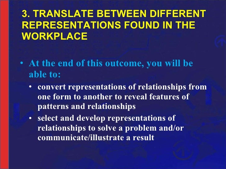 3. TRANSLATE BETWEEN DIFFERENT REPRESENTATIONS FOUND IN THE WORKPLACE <ul><li>At the end of this outcome, you will be able...