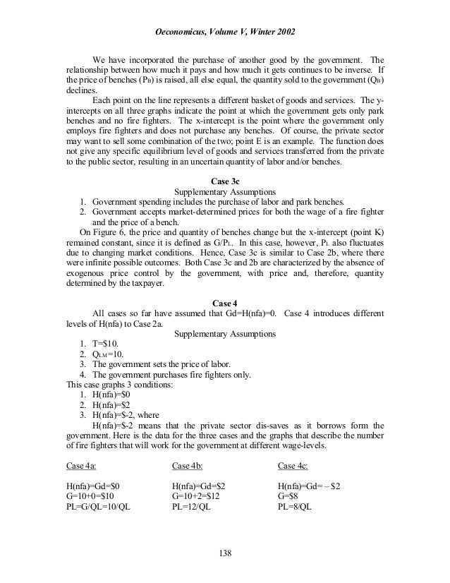 Oeconomicus, Volume V, Winter 2002 138 We have incorporated the purchase of another good by the government. The relationsh...