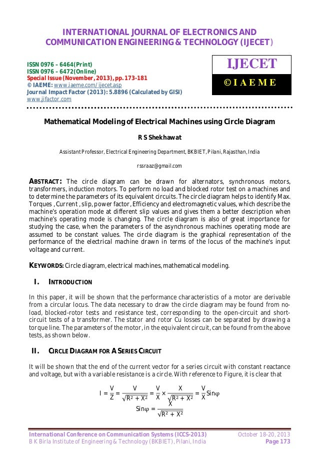 Mathematical modeling of electrical machines using circle diagram mathematical modeling of electrical machines using circle diagram international journal of electronics and communication engineering technology ijecet ccuart Images