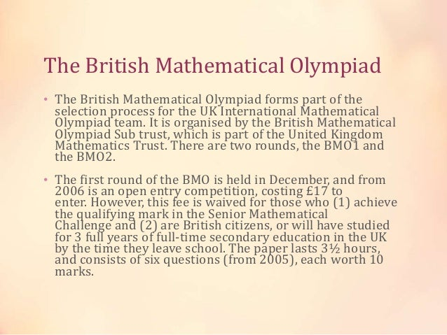 Mathematical olympiads throughout the world