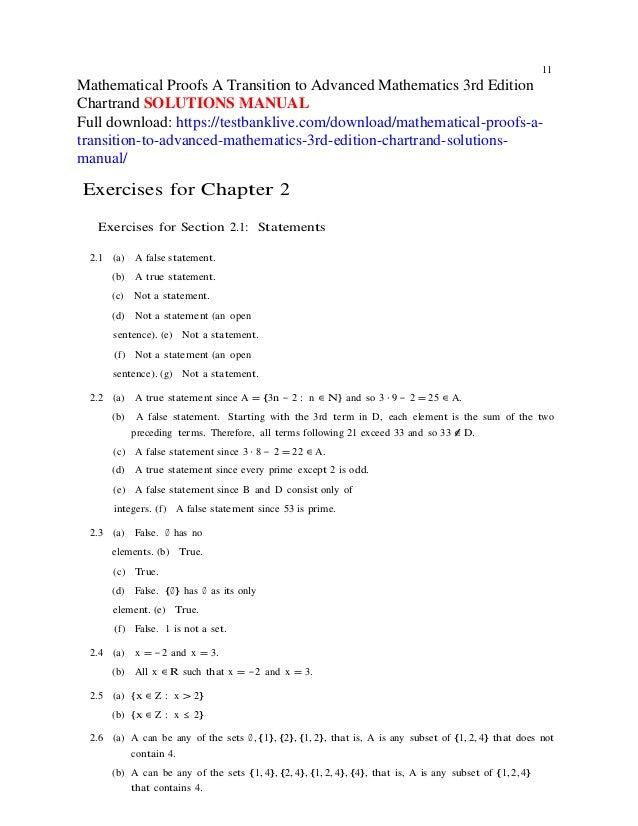 mathematical proofs a transition to advanced mathematics 3rd edition rh slideshare net a transition to advanced mathematics solutions manual pdf mathematical proofs a transition to advanced mathematics solutions manual