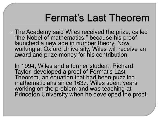 fermats last theorem Fermat's last theorem - the theorem and its proof: an exploration of issues and ideas [1993.