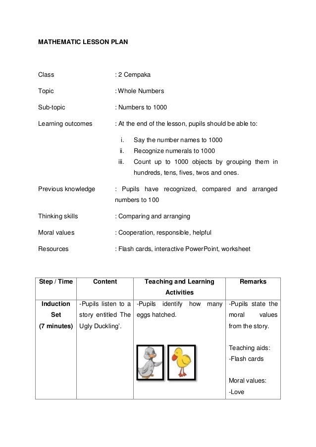 lesson plan in elementary mathematics Free math lesson plans, math games and worksheets for teachers provided by the teacher's corner.