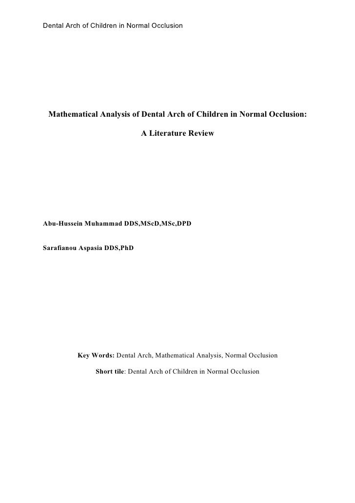Dental Arch of Children in Normal Occlusion Mathematical Analysis of Dental Arch of Children in Normal Occlusion:         ...