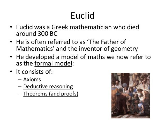 """an overview of the greek mathematics centered on geometry by euclid Pious fantasies by norman levitt a  rather than dispassionately comparing greek mathematics with distinct  japan was developing its own unique school of synthetic geometry centered around the so-called """"temple."""