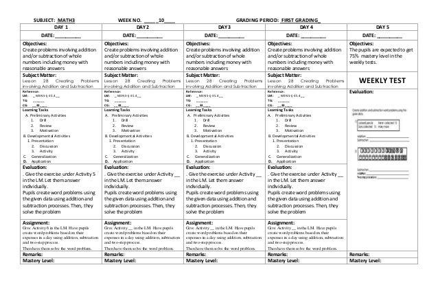 K to 12 Grade 3 DLL MATHEMATICS (Q1 – Q4)
