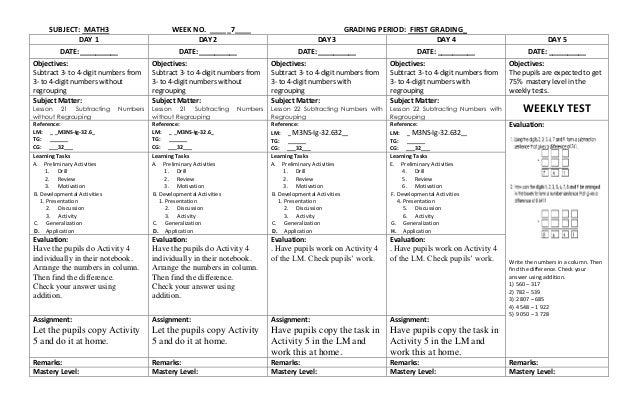K to 12 Grade 3 DLL MATHEMATICS (Q1