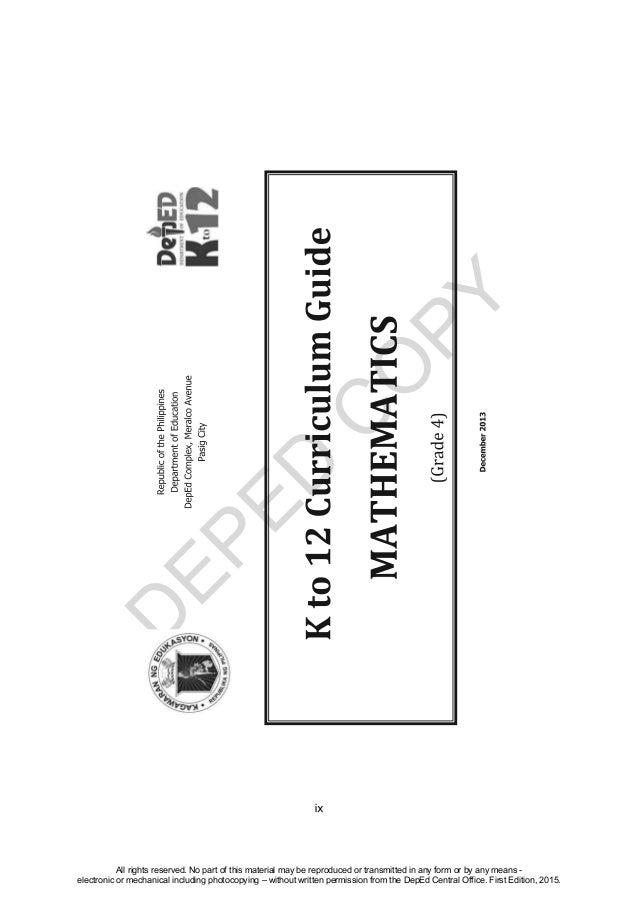 K TO 12 GRADE 4 TEACHER'S GUIDE IN MATHEMATICS (Q1-Q4)