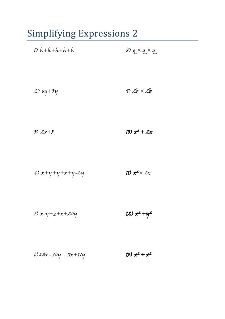 Mathematics Algebra Worksheet Simplifying Expressions 2 Jw