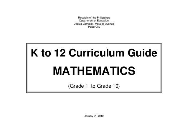 k to 12 mathematics curriculum guide for grades 1 to 10 rh slideshare net Grade 5 Math 8 Grade Math