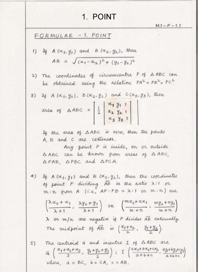 Mathematics 1 formulae