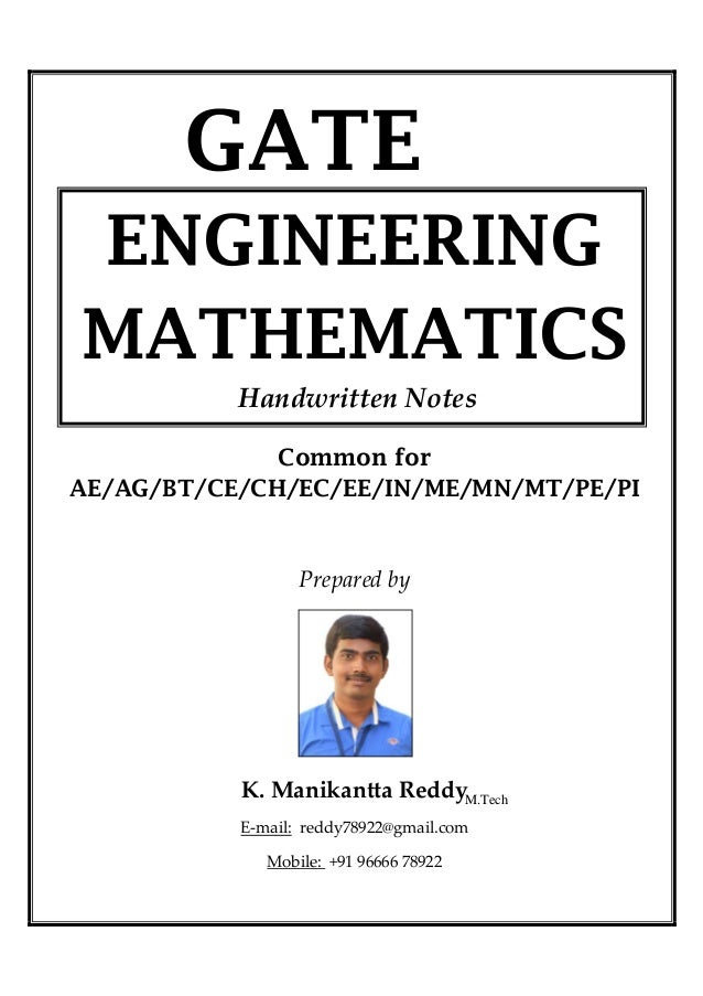 Mathematics 1 handwritten classes notes (study materials
