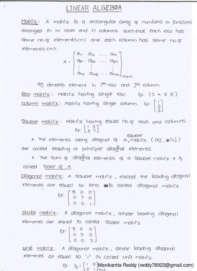 Mathematics 1 handwritten classes notes (study materials