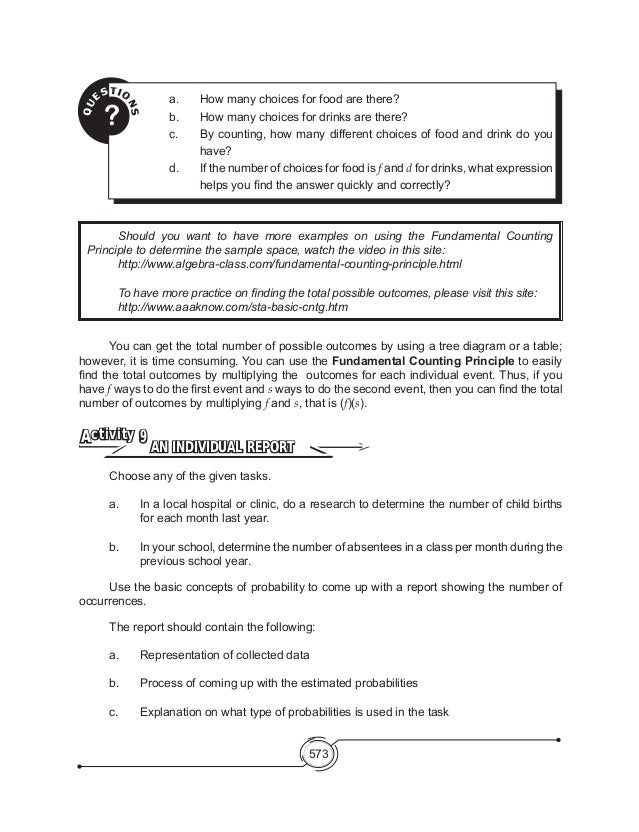 Mathematics 8 Basic Concepts of Probability – Fundamental Counting Principle Worksheet
