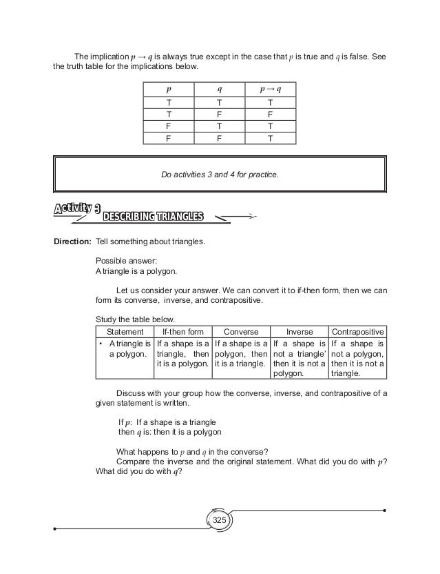 Mathematics 8 Reasoning – Converse Inverse Contrapositive Worksheet