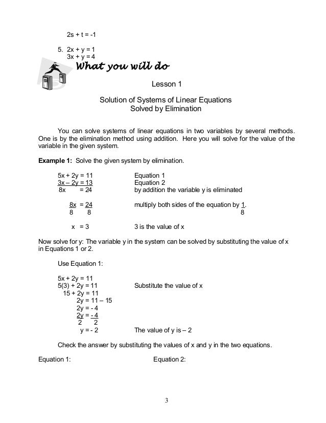 Mathematics 8 Systems Of Linear Inequalities