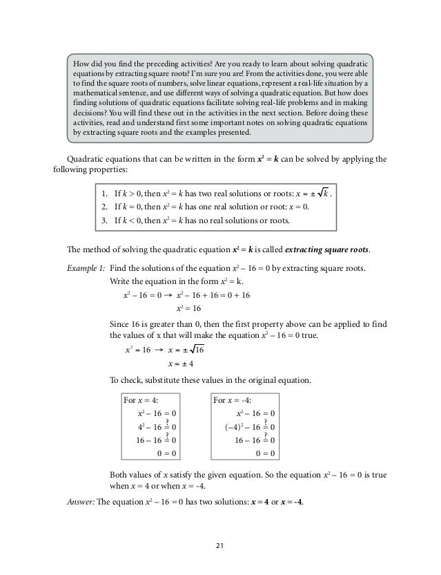 Mathematics 9 Quadratic Equations And Inequalities