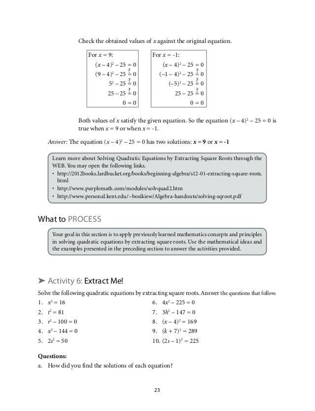 quadratic equations and inequalities pdf