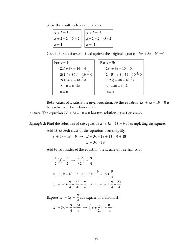 Quadratic Equations And Inequalities Worksheet Livinghealthybulletin