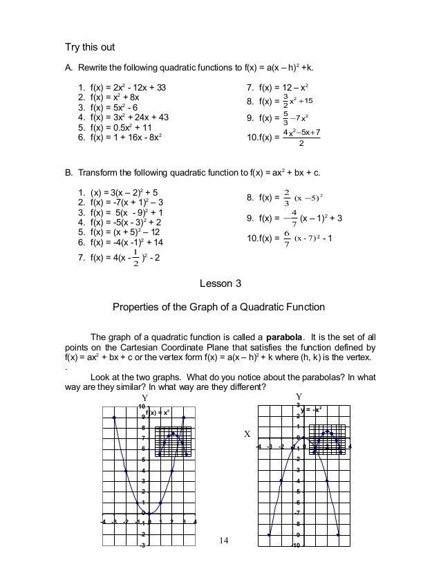 Mathematics 9 Quadratic Functions Module 1