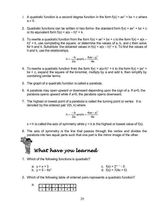 Mathematics 9 Quadratic Functions (Module 1)
