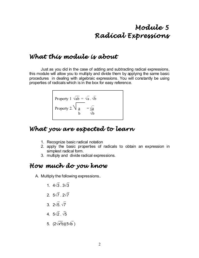 Mathematics 9 Radical expressions (4)
