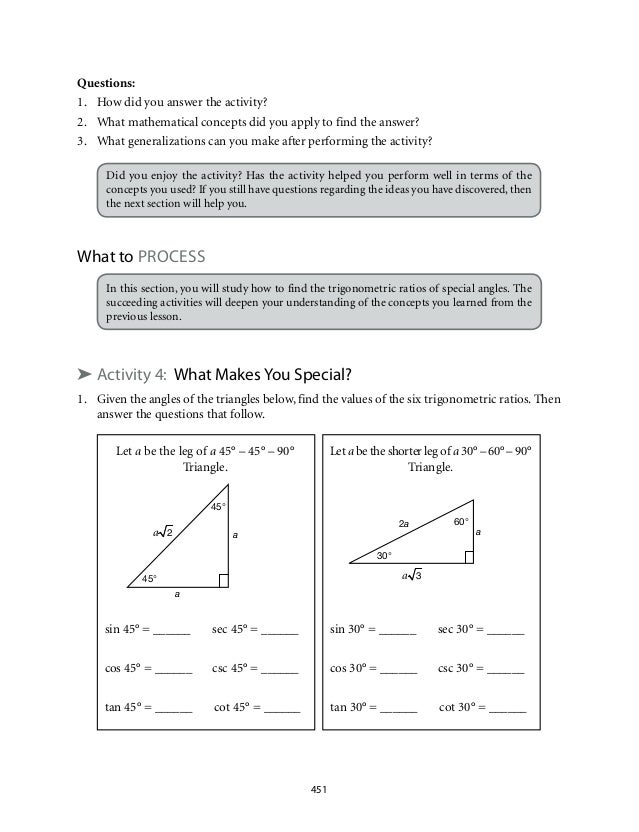 trigonometric ratios questions and answers pdf