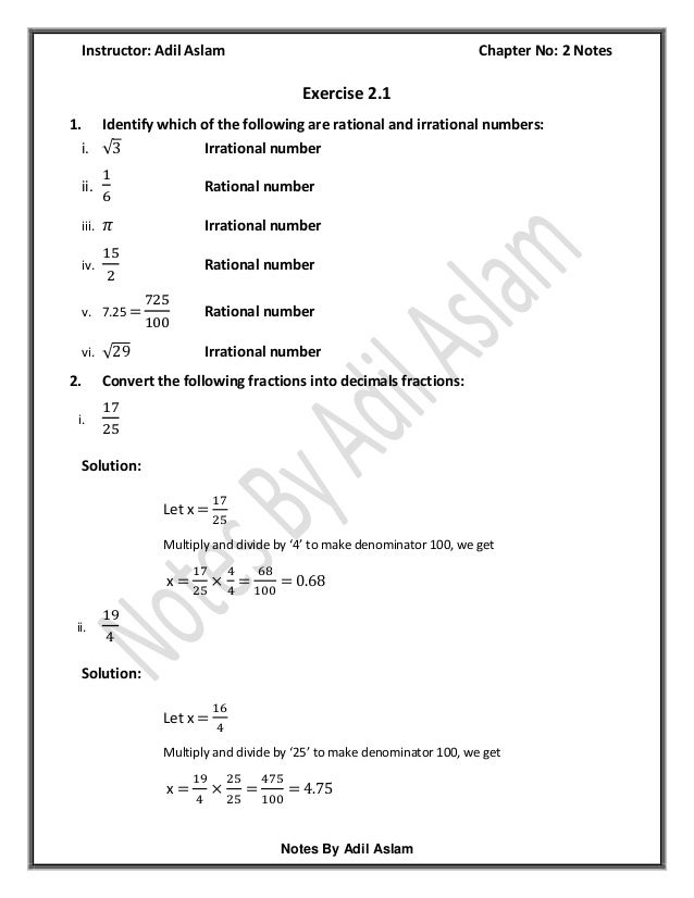 Mathematics Class 9th Chapter 2 Solution