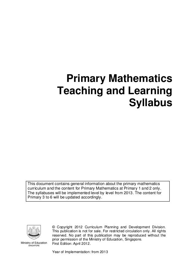 The Mathematics Syllabus that has been adopted worldwide