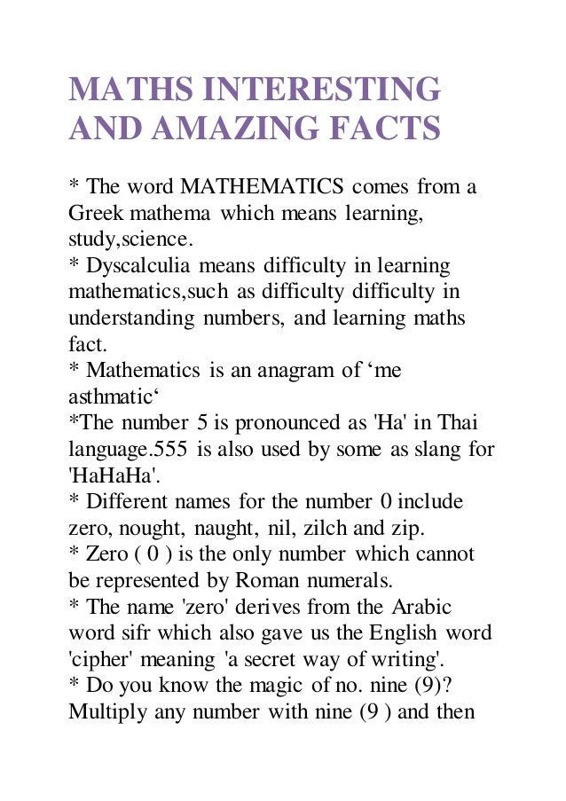 amazing facts about maths pdf
