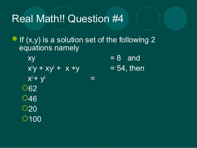 Mathematics high school level quiz - Part I