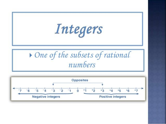 Integers are the whole numbers and their opposites. Examples of integers are i. 6 ii. -12 iii. 0 iv. 186 v. -934