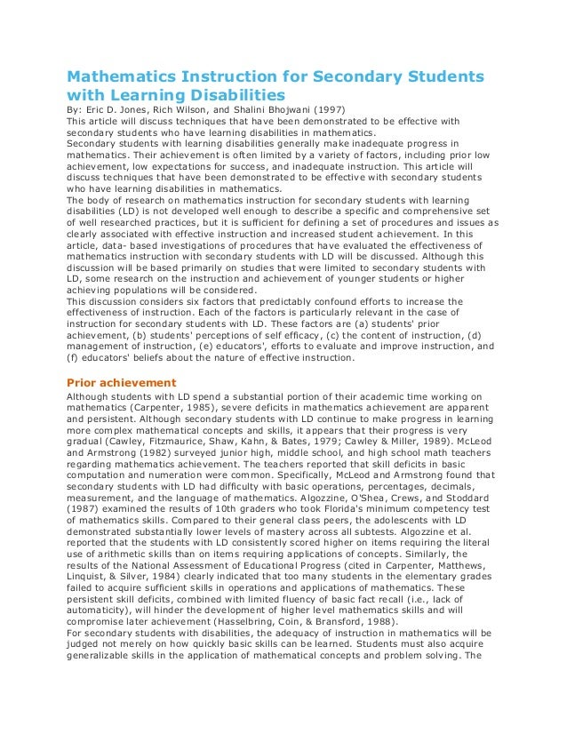 Mathematics Instruction for Secondary Studentswith Learning DisabilitiesBy: Eric D. Jones, Rich Wilson, and Shalini Bhojwa...