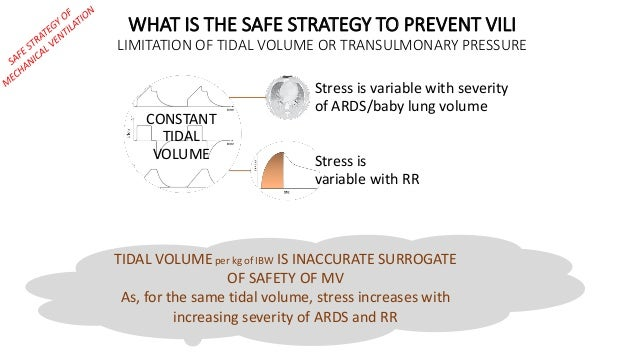 CONSTANT TIDAL VOLUME Stress is variable with severity of ARDS/baby lung volume Stress is variable with RR WHAT IS THE SAF...