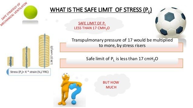 Transpulmonary pressure of 17 would be multiplied to more, by stress risers Safe limit of PL is less than 17 cmH2O SAFE LI...