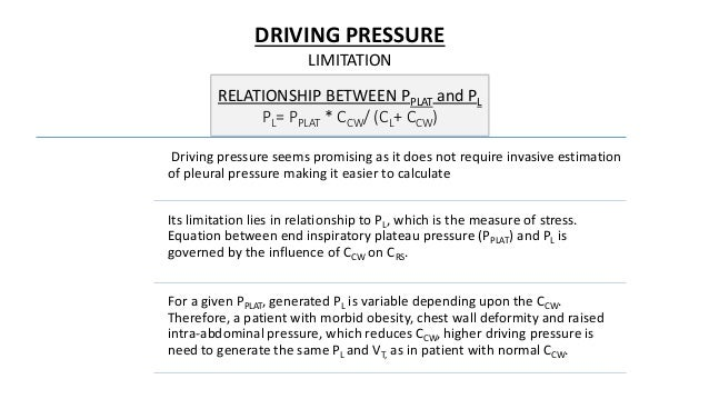 DRIVING PRESSURE LIMITATION Driving pressure seems promising as it does not require invasive estimation of pleural pressur...