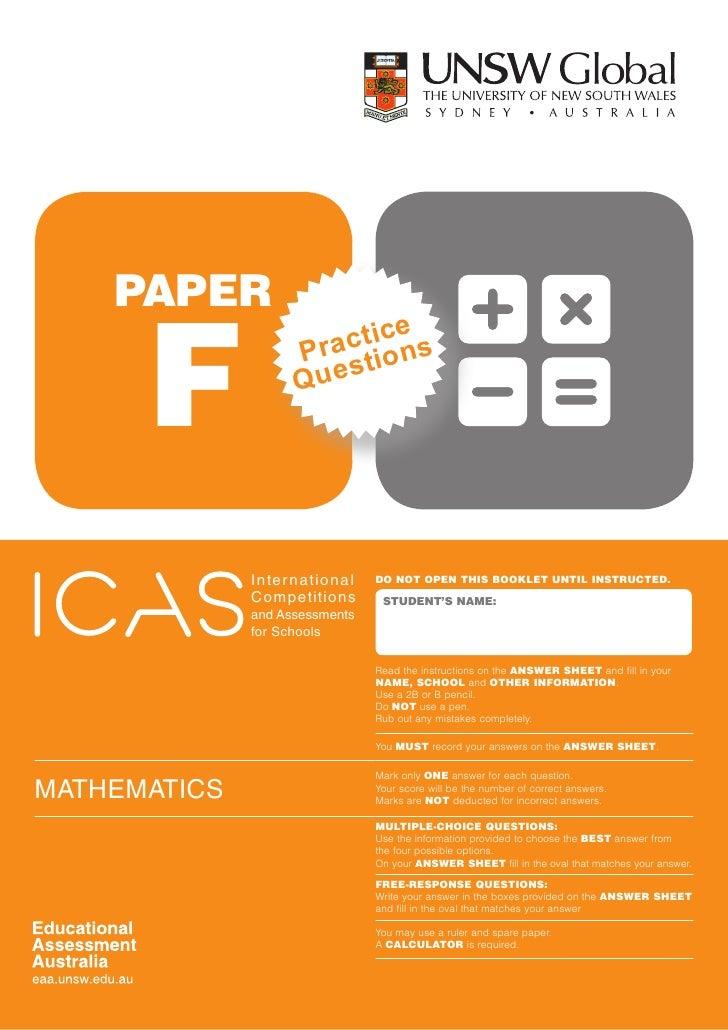 Mathematics paper F