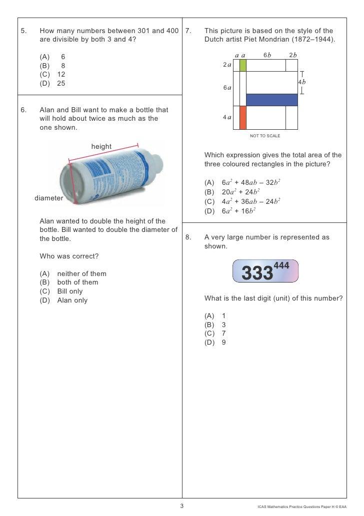 icas mathematics paper year 7