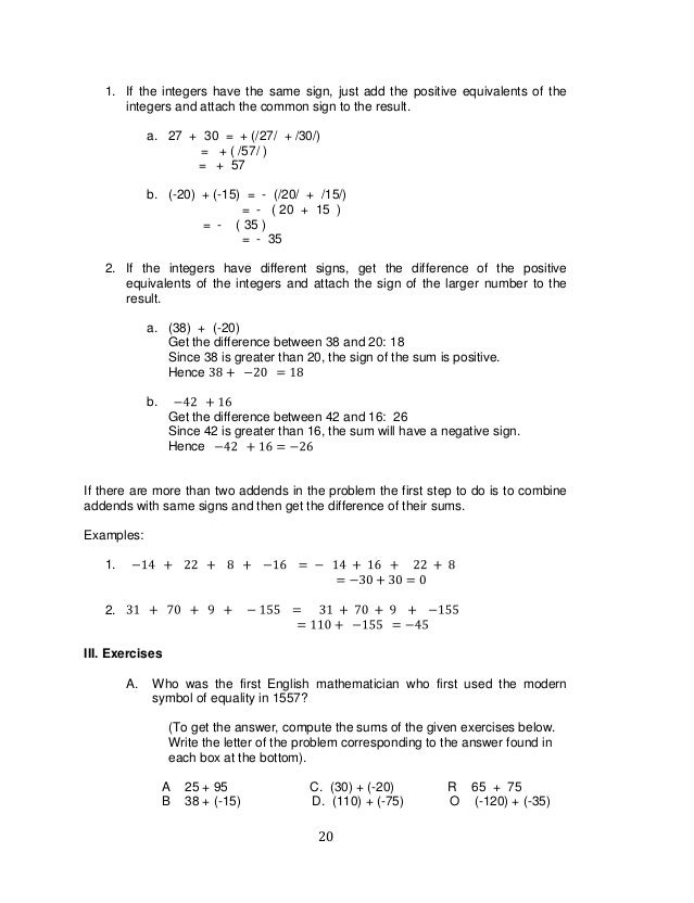 K TO 12 GRADE 7 LEARNING MODULE IN MATHEMATICS Q1Q2 – Consecutive Integers Word Problems Worksheet