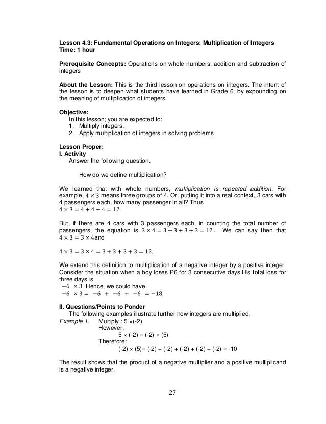 K TO 12 GRADE 7 LEARNING MODULE IN MATHEMATICS Q1Q2 – Multiplication of Integers Worksheets