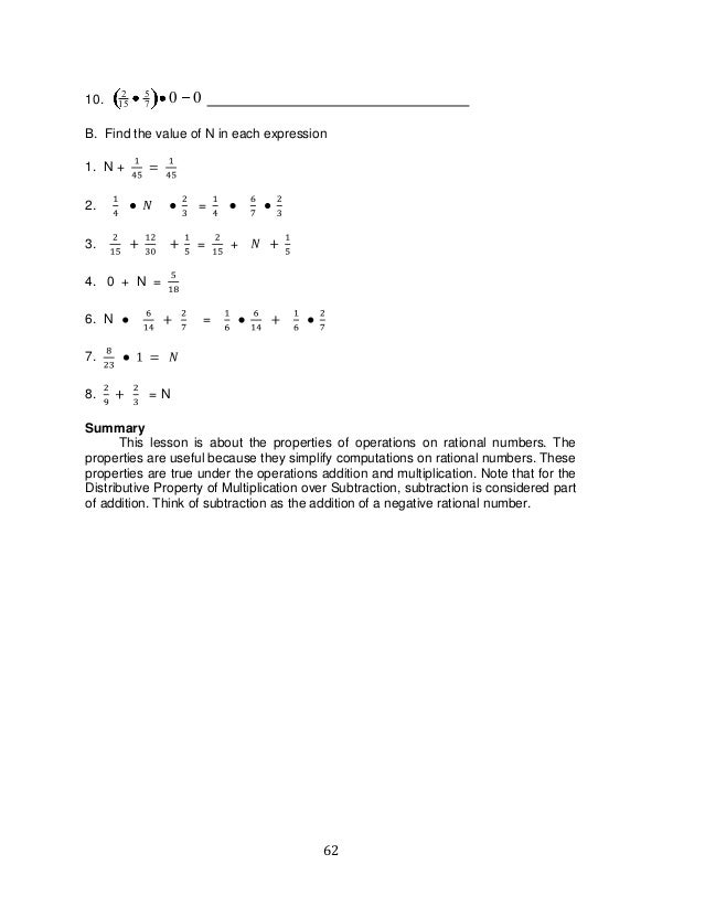 62 10. 2 15 5 7 0 0 B. Find the value of N in each expression 1. N + 2. = 3. = + 4. 0 + N = 6. N = 7. 8. = N Summary This ...