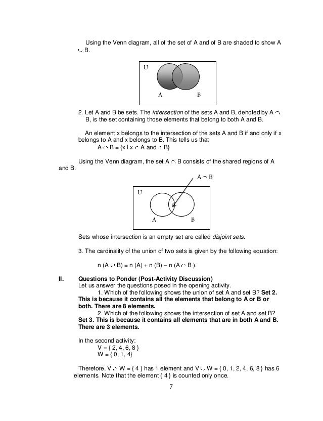 K to 12 grade 7 learning module in mathematics q1 q2 7 7 using the venn diagram ccuart Image collections