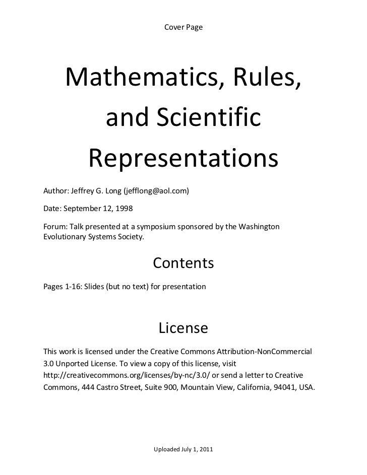 CoverPage      Mathematics,Rules,        andScientific       RepresentationsAuthor:JeffreyG.Long(jefflong@aol...